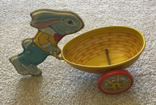Vintage J Chein Blue Bunny Rabbit W/ Easter Egg Cart Tin Litho Candy Container