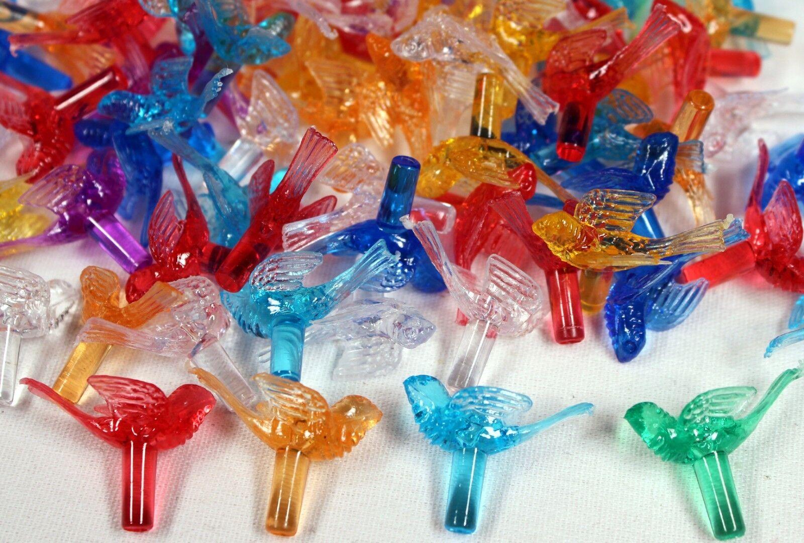 Plastic Bird Lites for Ceramic Christmas Trees, Multi Color Ornaments 100 pcs Christmas Trees