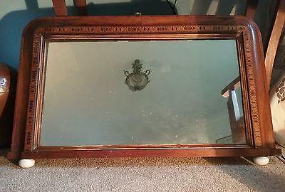 pretty elegant antique edwardian walnut inlaid overmantle mirror ,porcelain feet