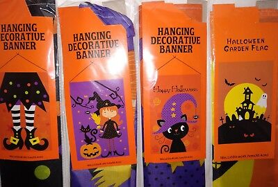 Halloween Garden Flags Banners 12 X 18 Inches Choice print Black Cat, witch JOL ()