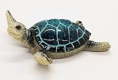 Blue Baby Sea Turtle Figurine - Nautical Beach Coastal Decor - - Nautical Baby Decor