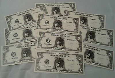 Ariana Grande Dangerous Woman Tour 2017 Stage Used Dollar Bill Money 10 Pack