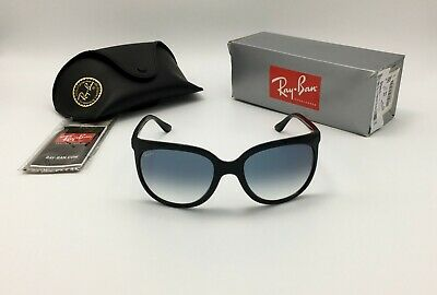 Ray-Ban® CATS 1000 Women's Black Sunglass RB4126 601/3F Blue Gradient GLASS (Ray Ban Retro Cat Eye Sunglasses)