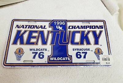 National Champions License Plate - University Of Kentucky License Plate Basketball 1996 National Champions Wildcats