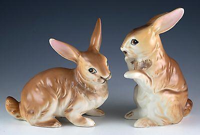 Vintage Pair of Ceramic Brown Rabbit Figurines Made In Japan