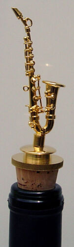 """Saxophone brass w/gold plated handmade collectible miniature 4"""" bottle stopper"""