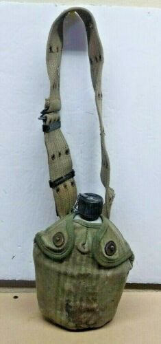 VINTAGE U.S. ARMY M1910 ALUMINUM CANTEEN WITH CANVAS BELT