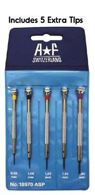 Best Swiss AF Watch flat head blade Screwdriver 5pc Set W 5 Extra