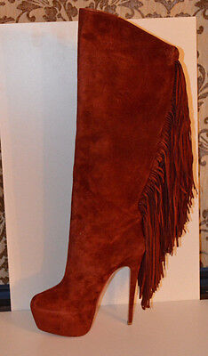 CHRISTIAN LOUBOUTIN INTERLOPA 165 fringed suede knee boots 40.5 GR