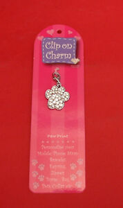 Dog-Paw-Print-Crystal-Phone-Charm-Keyring-Zipper-Vet-Kennels-Mum-Xmas-Gift-NEW