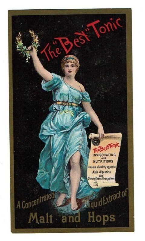 Trade Card for Best Tonic - a digestive aid - malt & hops - Hygeia - Goddess