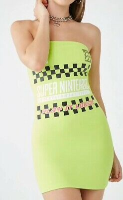 Super Nintendo SNES Logo Video Game Strapless Tube Mini Dress Lime Green M NEW