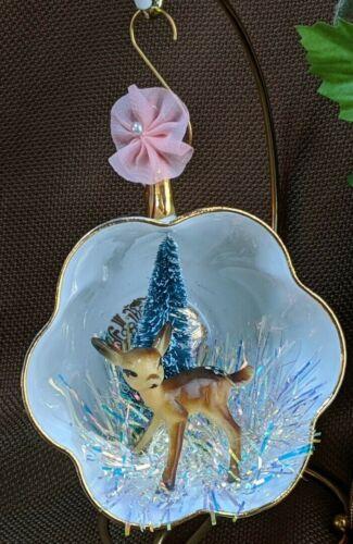 Tea Cup Diorama Christmas Ornament Vintage Royal Imperial Teacup & DEER ~