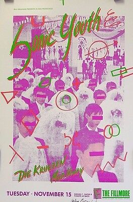 Sonic Youth   Art by  Arlene Owseichik - Original 1988 Concert Poster Signed*