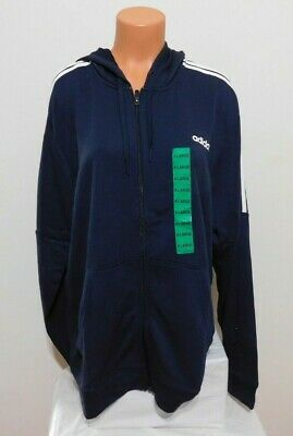 Adidas Mens Full Zip Jacket French Terry 3 Stripe Size XL Blue  NEW