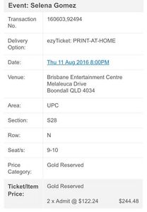 2x gold selena Gomez tickets, Brisbane Gold Coast Tweed Heads Tweed Heads Area Preview