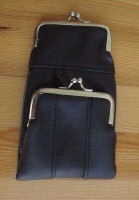 (Black Leatherette Cigarette Pack Holder Pouch Case Coin Purse Wallet)