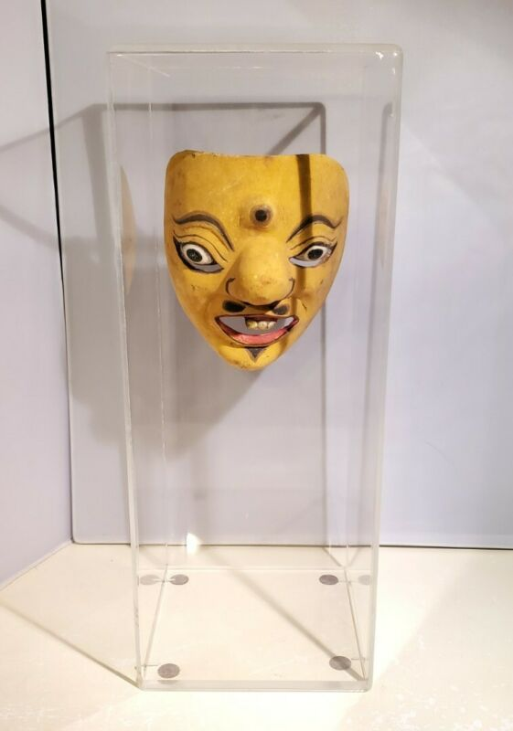 Vintage Wooden Wood Eastern Tribal Mask w/ Protective Case Yellow 3 Eye Handmade