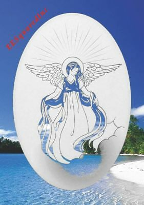 ANGEL WINDOW CLING New Oval 15x23 Etched Glass Look Decal Christian Door Decor