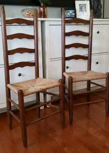 Antique Pair Shaker Style Ladder Back Chairs with Rush Seat Very Old