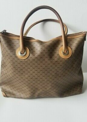 AUTHENTIC Gucci Tote handbag Vintage Micro G Logo Coated Canvas & Leather