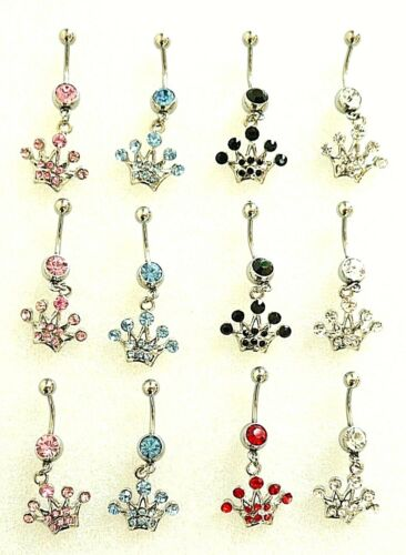 12 Artistic Curved Belly Button Dangle Rings - 14g & 316L Surgical Steel