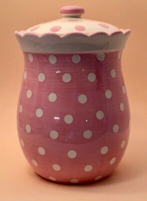 "Vintage White and Pink Polka Dots ""Pretty in Pink"" Cookie Jar"