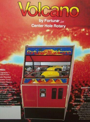 Volcano Arcade FLYER Original Boardwalk Fortuna Rotary Pusher Redemption Game