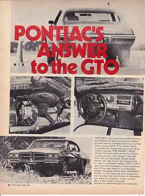 1971 Pontiac Gt 37 400 300 Hp     Great 3 Page Original Road Test   Article   Ad