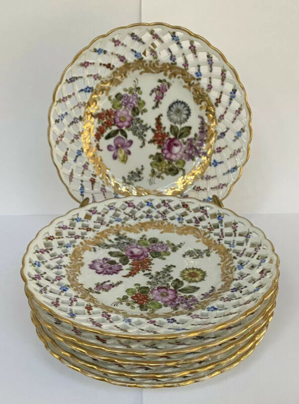 6 Antique Floral Painted French Porcelain Eugene Clauss Reticulated Small Plates