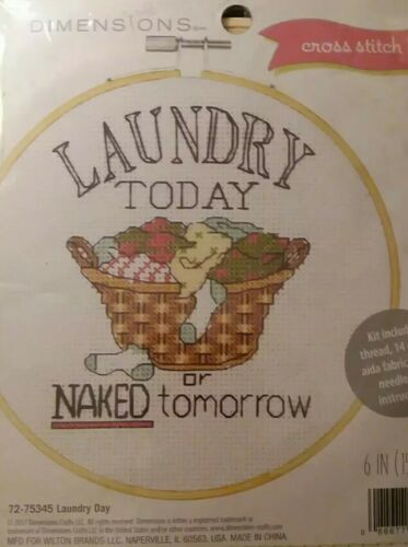 NEW Dimensions CROSS STITCH KIT Laundry Today Or Naked Tomor