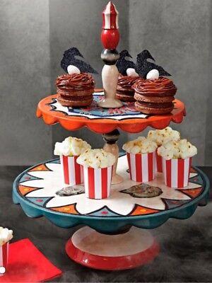 NEW GRANDINROAD HALLOWEEN 2 TIERED CUPCAKE SERVER CARNIVAL CIRCUS CAKE PLATE