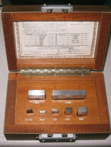 Vintage Brown & Sharpe Super-a Jo Blocks in Original Wood Box