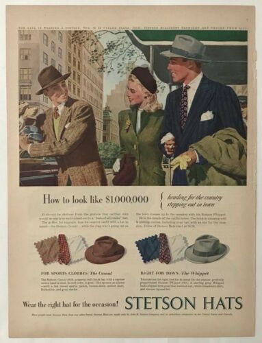 Vintage Original 1947 STETSON HATS Print Ad Advertisement