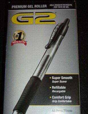 12 Pilot G2 black  Rollerball Pens .7mm 31020 PREMIUM GEL 072838310200 FREE SHIP