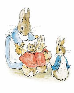 Peter Rabbit Family Animal Art Noveau Painting Real Canvas Giclee Art Print
