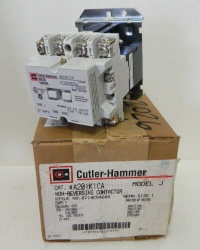 Eaton Cutler Hammer A201K1CA Motor Starter Contactor Size 1 Style 6710C54G06