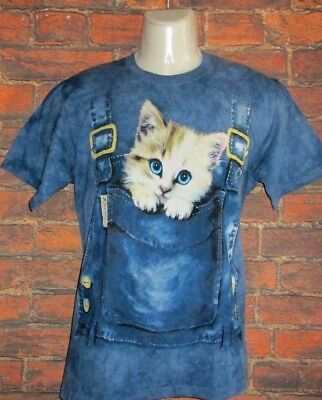 MENS THE MOUNTAIN BY ON THE BYAS BLUE CAT T-SHIRT SIZE S