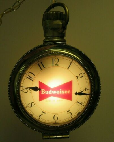 Vintage Budweiser Lighted Pocket Watch Clock Hanging Sign Clydesdale Horses