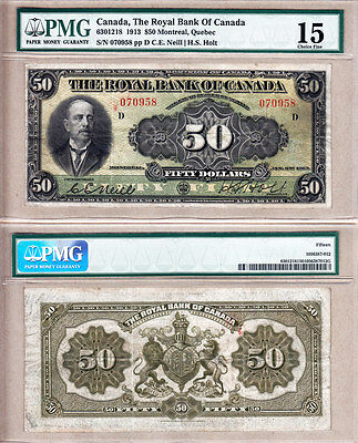 Rare Large Size 1913  50 Royal Bank Of Canada Chartered  Pmg Certified Fine15
