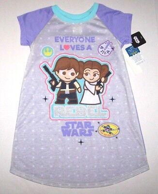 Nwt New Disney Star Wars Caricature Nightgown Pajamas Rebel Purple Cute Girl (Cute Girl Pajamas)