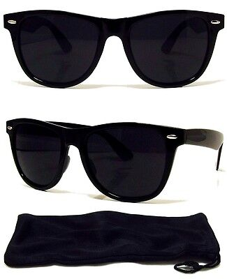 80s Extra Dark Lens RETRO SUNGLASSES Black Frame New FREE