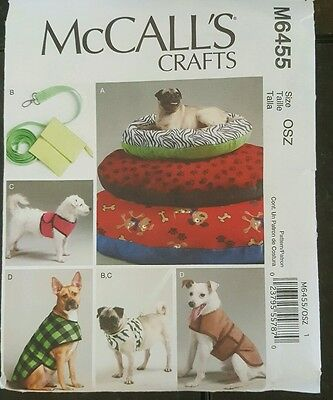 Pet Dog Beds Coats Leash & Harness Sewing Pattern/McCall's M6455/OSZ Uncut