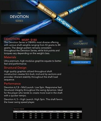 Brand New OBAN Devotion Hybrid Shaft - Available in R flex S flex or X flex for sale  Shipping to Canada
