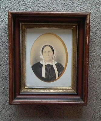 Antique Deep Well Victorian Picture Frame 19th C Photo Portrait Wavy Glass