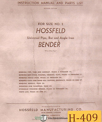 Hossfeld No. 2 Universal Pipe Bar And Angle Iron Instruct Parts Manual 2004