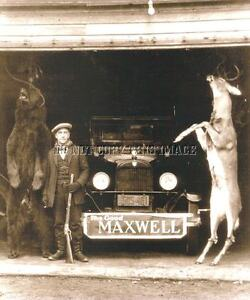 ANTIQUE HUNTING REPRO 8X10 HUNTING PHOTO RIFLE, DEER, BEAR, MAXWELL ANTIQUE CAR