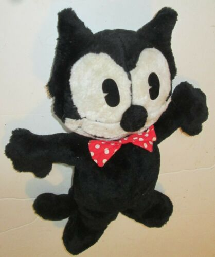 Vintage FELIX THE CAT Plush stuffed doll with bowtie 13""