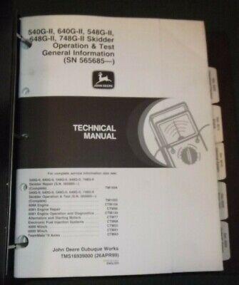 John Deere 540g 548g 640g 648g 748g-ii Skidder Technical Op Test Manual Tm1693