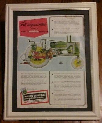 Original John Deere Model B Advertisement - Framed & Matted Circa 1930's - 40's